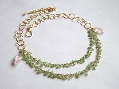 Faceted Australian CHRYSOPRASE and Rose QUARTZ by pinkowljewelry, $154.00