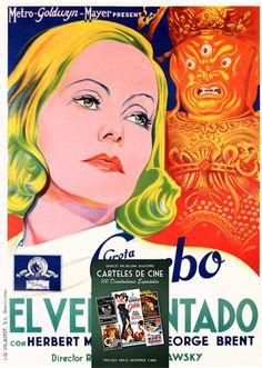 """Greta Garbo in """"El velo pintado"""", spanish movie poster belonging to the new book """"Carteles de Cine. 100 Diseñadores Españoles"""". Information and sales, email: papeldecine@gmail.com"""