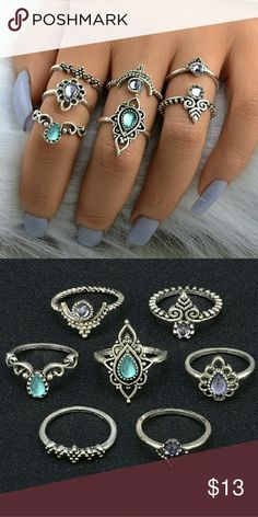 7 pcs ring set bohemian Brand new in original packaging . Bundle and save Jewelry Rings