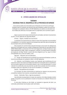 Convocatoria pública de la Sociedad para el Desarrollo de la Provincia de Burgos (Sodebur) para la concesión de subvenciones para Entidades Locales de la provincia de Burgos con población inferior a 20.000 habitantes con destino a la renovación de las instalaciones eléctricas municipales para el cumplimiento de la normativa vigente