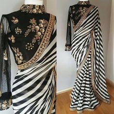 Buy Gorgeous Black-White Striped Designer Georgette Saree at Rs. Get latest Partywear Saree for womens at Peachmode. Indian Dresses, Indian Outfits, Saris Indios, Black And White Saree, Black White, White Zebra, Sari Bluse, Indische Sarees, Party Kleidung
