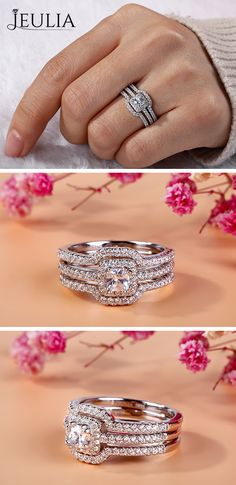 ❤️ Luxury Design, Claccic & Sight-Catching❤️ JEULIA Sweetie 3PC Sterling Silver Wedding Ring Sets. Handcrafted Stylish Women Wedding Ring Set. Annisary Gift For Her. Jeulia 3PC Halo Princess Cut Created White Sapphire Wedding Set Wedding Ring Set / Engagament Ring #JEULIAJewelry  #Springoutfits #Weddingdress #Bridalshowergames
