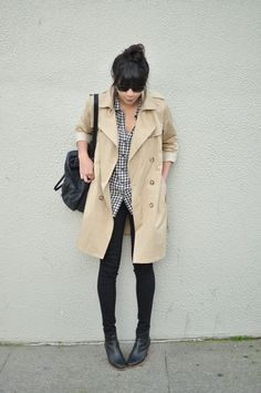 trench coat, button shirt, booties outfit