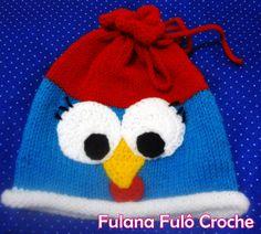 Ateliê Fulana Fulô: Touca em tricô galinha pintadinha com pap