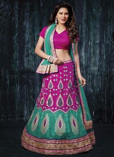 Engrossing Net Embroidered Work A Line Lehenga Choli