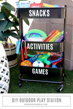 #ad This portable outdoor play station has everything you'll need to keep the kids entertained all summer long! Fill a caddy with snacks and activities, then label each section with your #Cricut Joy to help everything stay organized! #CricutMade