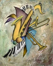 Original oil paintings of music, music artwork, guitar art, Jazz and Blues players by Virgil C. Stephens