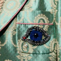 The Blue EYE Trend for SS 2016. Blue Eye embellishment details at Gucci Spring Summer 2016.