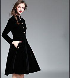 429ef82ab661a05 Классические черные Винтаж Для женщин платье 2016 на осень зиму с длинным  рукавом длина до колена Vestidos модная повседневная тонкий роковой халат  большие ...