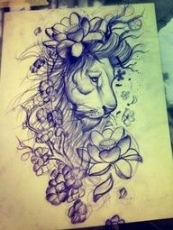 tattoo lions head with flowers - Google Search