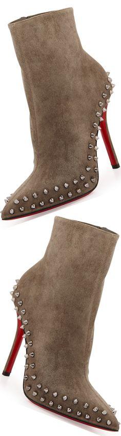 Women's Fashion High Heels : Christian Louboutin Wiletta Spike-Trim Suede Red Sole Bootie Fall Booties, Bootie Boots, Shoe Boots, Women's Shoes, Jimmy Choo, Chanel Resort, Gucci Purses, Red Sole, Victorias Secret Models