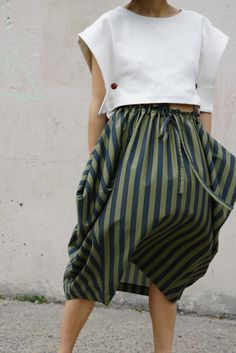 Electric Feathers Propeller Skirt in Sage/Olive Stripe | Oroboro | Brooklyn, New York