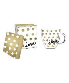 Love this 'Love' Polka Dot Glass Coffee Cup on #zulily! #zulilyfinds