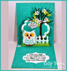 Kelly Booth using the Pop it Ups Lorna Label pop-up, Poppy the Owl, All Seasons Tree, House Pivot Card, Outdoor Edges and Agatha Edges dies by Karen Burniston for Elizabeth Craft Designs - Lovin The Life I Color: A Peek of The New Lorna Label by Karen Burniston in my Favorite Color Combo!