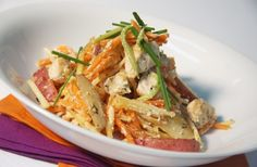 Poulet et julienne de légumes | Saladexpress.ca Potato Salad, Cabbage, Potatoes, Meat, Chicken, Vegetables, Ethnic Recipes, Food, Main Course Dishes