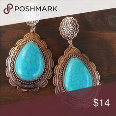 Copper & Turquoise Drop Earrings Brand new Copper & turquoise Drop Earrings. Gorgeous vintage, antique, southern, southwest, western, boho, gypsy, hippie, cowgirl style. Jewelry Earrings
