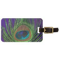 Purple Foil Single Peacock Bag Tag