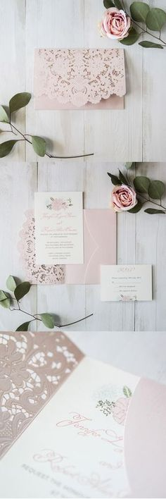 elegant blush pink floral laser cut wedding invitation cards
