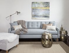 Kora Sofa in a neutral setting with gold accessories. Van Gogh Photo, Sofa, Couch, Bed Design, House Styles, Gold Accessories, Furniture, Living Rooms, Photo Shoot