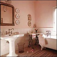 Pink bathroom 18th century restored farmhouse
