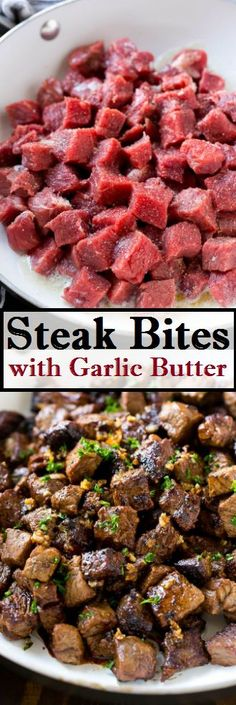 Steak Bites with Garlic Butter Made Easy - Recipes and Easy Meal Ideas Healthy Diet Recipes, Meat Recipes, Dinner Recipes, Cooking Recipes, Garlic Recipes, Top Recipes, Recipies, Steak Marinade Recipes, Grilled Steak Recipes