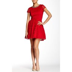 Trixxi Necklace Trim Cap Sleeve Skater Dress (Juniors) (€42) ❤ liked on Polyvore featuring dresses, red, open back lace dress, red mini dress, floral skater dress, white floral dress and mini dress