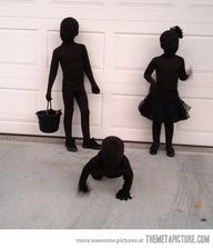 Kids dressed as SHADOWS for Halloween - their mother bought black morph suits for them then layered black clothes over those. She says, This might be the easiest costume on earth. And from all of my costumes over the years, this one got the very best reaction