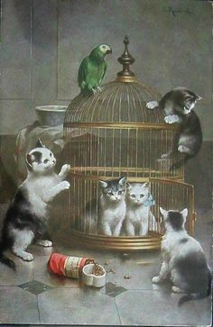 Family Parrot And  Mischievous Kittens ~ Carl Reichert ~ Private Collection