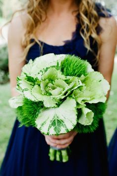 Beautiful green bouquet of green and white ornamental kale  and green trick carnations.!