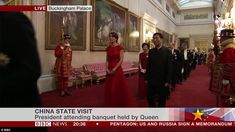 The BBC filmed the Duchess sweeping through the corridors of Buckingham Palace into the dinner to host the Chinese delegation