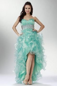 2015 Prom Dresses A Line Sweetheart Asymmetrical Organza Beaded And Ruffled