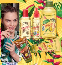 Descoperă în premieră cele mai noi produse Yves Rocher!  Un cocktail din Fructul Pasiunii și Ghimbir pentru o vară petrecută în inima naturii tropicale:  Apă de toaletă MARACUJA;  Spray parfumat pentru păr MARACUJA;  Gel de duș parfumat MARACUJA; Gel hidratant pentru corp MARACUJA;  Exfoliant vegetal pentru corp MARACUJA.  Go Maracuja!