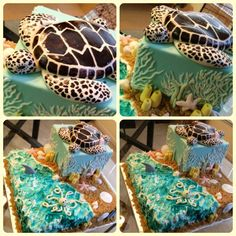 Sea turtle, coral, sea shells www.annacakes.com