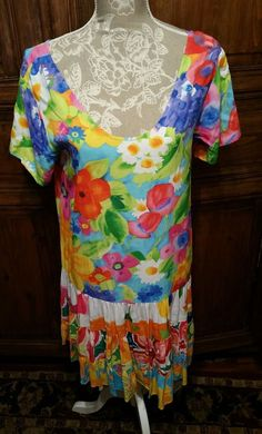 NWT Jams World HATTIE Dress Drop Waist W329 Hoki Poki Size Medium Aloha Hawaii  #JamsWorld #Tiered #SummerBeach