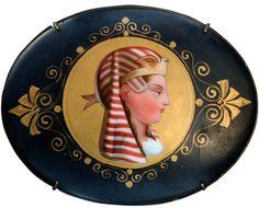 19th Century Egyptian Revival Pharaoh Portrait on Porcelain, Brass Brooch Mount