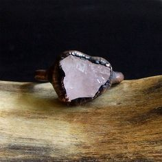 Morganite Copper Gemstone Raw Crystal Ring Beryl Ring Size 6.5 Rough Stone Ring…