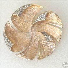 Alice Caviness Vintage Pinwheel Brooch with Rhinestones | eBay