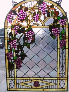 Tuscany Arch of Grape Stained Glass Window Stained Glass Flowers, Stained Glass Designs, Stained Glass Panels, Stained Glass Patterns, Stained Glass Art, Mosaic Glass, Fused Glass, Wine Vine, Wine Bottle Art