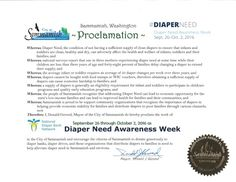 SAMMAMISH, WA-Mayoral proclamation recognizing Diaper Need Awareness Week (Sep. 26-Oct. 2, 2016) #DiaperNeed Diaperneed.org