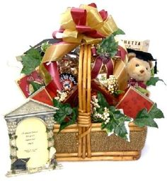 To A Special Grad: Graduation Gift Basket-To A Special Grad: Graduation Gift Baskets A stunning gift basket for the special graduate! Graduation Bear, College Graduation Gifts, Grad Gifts, Chocolate Dipped Cookies, Chocolate Gifts, Chocolate Popcorn, Almond Chocolate, Rocky Road Chocolate, Gifts