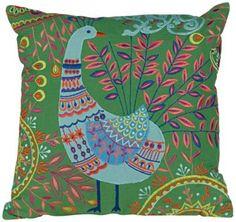"Boho Peacock Green 16"" Square Down Throw Pillow"