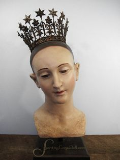 Image of Life Size Paper Mache Santos Bust on Stand, 18 inches
