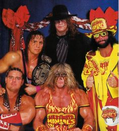 "From Back: The Undertaker, WWE champion Bret Hart, The ""Macho Man"" Randy Savage, The British Bulldog Davey Boy Smith, and The Ultimate Warrior"