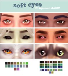 Soft Eyes by Squeamishsims [ [ [ Los Sims 4 Mods, Sims 4 Body Mods, Sims 4 Game Mods, Sims 4 Cc Eyes, Sims 4 Mm Cc, Sims Four, Maxis, Vêtement Harris Tweed, The Sims 4 Skin