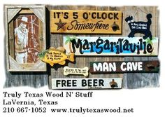Rustic signs for the interior and exterior.