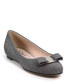 """Salvatore Ferragamo """"Varina"""" Sparkly Flat in Nero...basically want this shoe in every color/texture"""