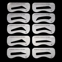 10pcs Men Eyebrow Card Drawing Guide Card Brow Template Eyes Makeup Shaping Design Eyebrow Stencils