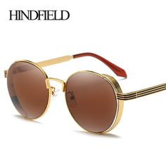 935a673203e HINDFIELD Steampunk Round Sunglasses Women Steam Punk Circle Female Brand  Metal Mirror Lenses Sun Glasses For Women Oculos UV400-in Sunglasses from  Women s ...