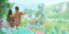 What conditions did Adam and Eve enjoy? Genesis describes the original Paradise, the garden of Eden. Images Bible, Bible Pictures, Life In Paradise, Paradise On Earth, Couples Chrétiens, Adam Et Eve, Watch And Pray, Biblical Art, Garden Of Eden