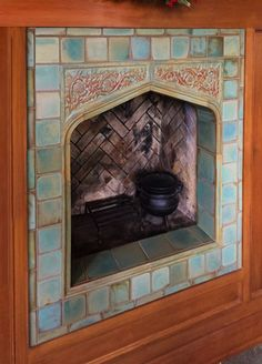 Custom tile and tile design in the Craftsman tradition. Craftsman Tile, Craftsman Fireplace, Craftsman Homes, Fireplace Design, Fireplace Ideas, Snug Room, Silhouette America, Decorative Tile, Beach Landscape